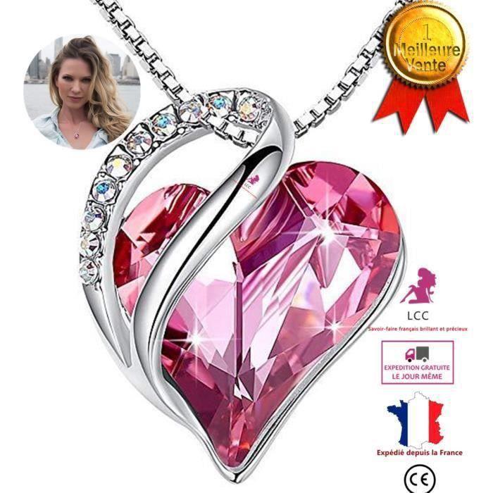 Collier en coeur diamant strass rouge cristal Swarovski Elément bijoux femme accessoire beauté design élégance collier bijou