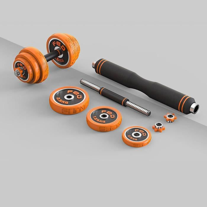 Haltère fitness réglable 30kg (anneau caoutchouc orange)