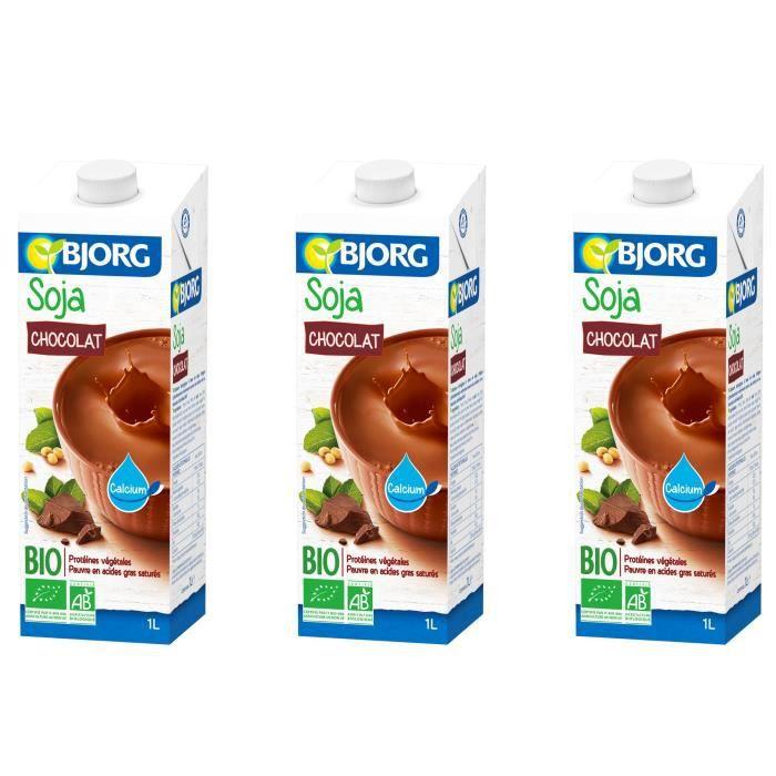 BJORG Boisson Soja Chocolat Calcium Bio 1l X3