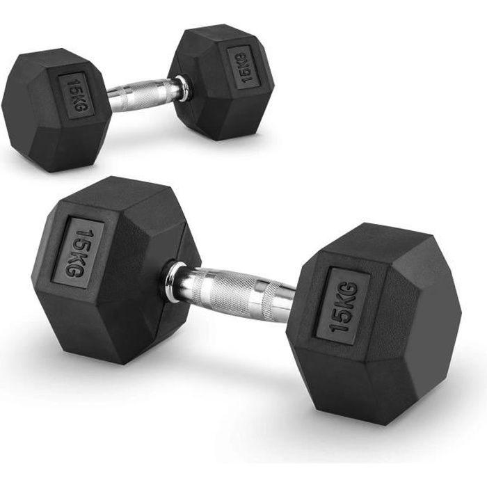 CAPITAL SPORTS Hexbell - Paire d'haltères courts pour musculation, cross-training… (caoutchouc résistant, prise chromée) - 2x 15kg