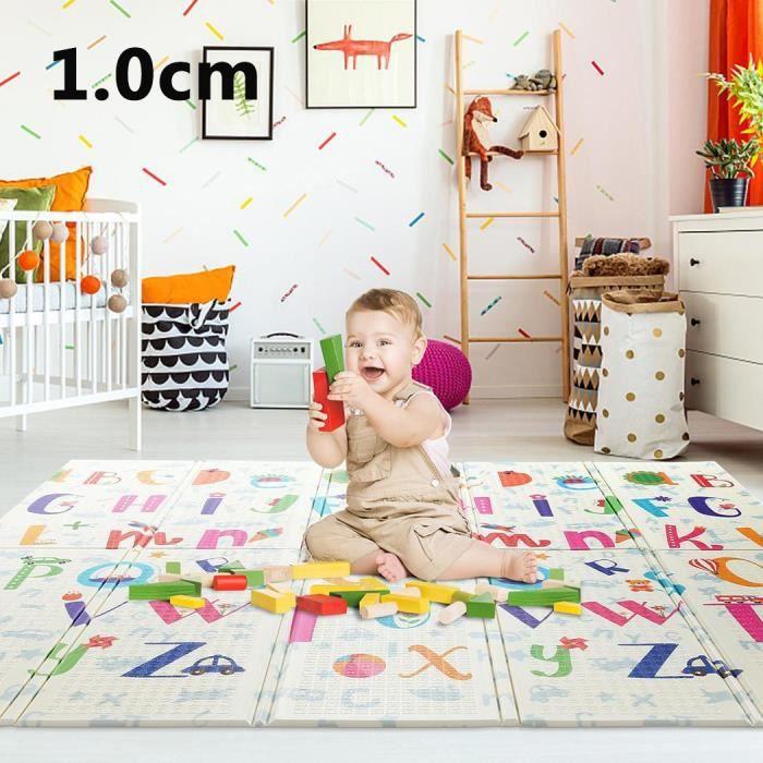 Tapis de jeux pour enfant-Tapis enfant-Double face-Antidérapant-Non Toxique-Pliable-Extra Épais-étanche-200x180x1cm CAROMA