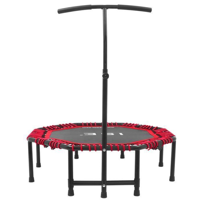 ISE Trampoline de Fitness Pliable Trampoline de Gym 118cm Poignée réglable 116-132cm (Rouge) SY-TGB-RE