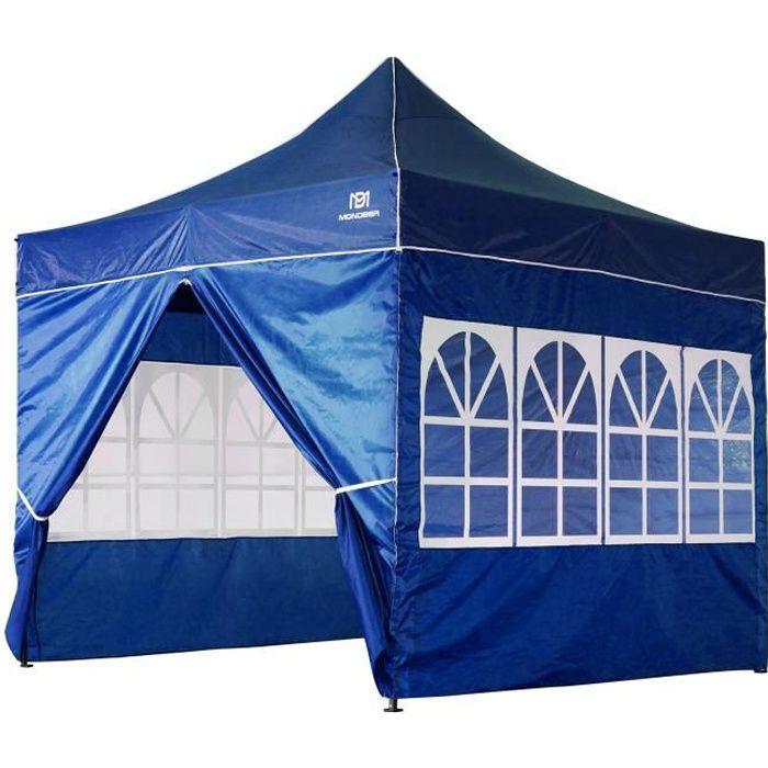 Tonnelle de Jardin 3mx3m Tente de Reception Pliante avec 4 Parois Latérales et Fenêtres pour Fête, Festival, Bleu - Mondeer