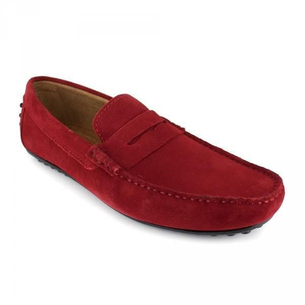 Mocassin J.Bradford Cuir Rouge JB-AITOR - Couleur - Rouge