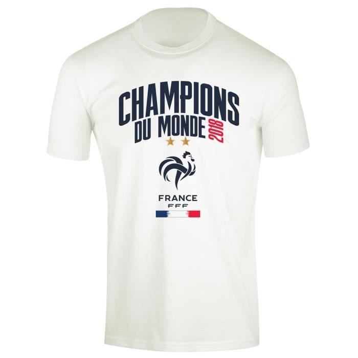 T-Shirt Enfant Équipe de France 'Champions 2018' Officiel - Blanc (10 ans)