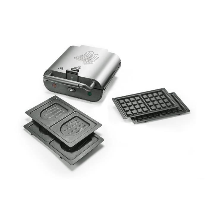 Senya Gaufrier, Appareil à Croques et Gaufres 2en1 Silver Duo Waffles 800W