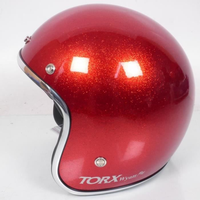 Casque bol jet Torx Wyatt Rouge brillant Taille L moto scooter custom Neuf