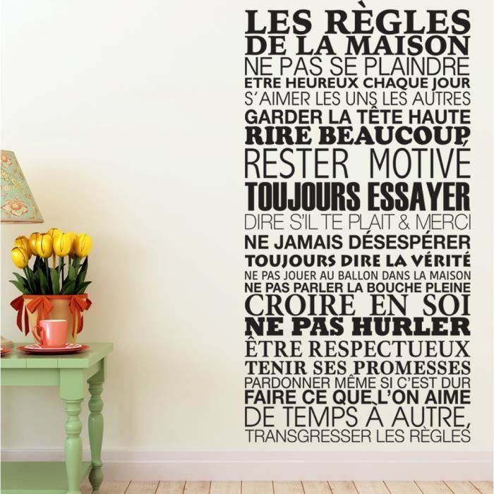 stickers regles de la maison achat vente stickers regles de la maison pas cher cdiscount. Black Bedroom Furniture Sets. Home Design Ideas