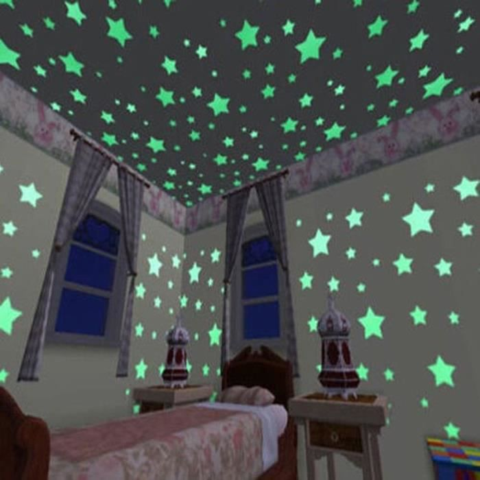 Bedroom Ceiling Star Lights Dark Brown Carpet Bedroom Ideas Vintage Black And White Bedroom Ideas Native American Bedroom Decorating Ideas: 100 X étoiles Autocollant Sticker Mural Phosphorescent