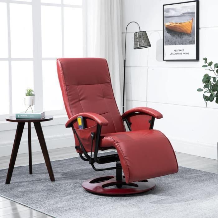 vidaXL Fauteuil de Massage Chaise de Relaxation Inclinable Electrique Salon Salle de Séjour Maison Intérieur Bureau Marron Similicuir Meubles