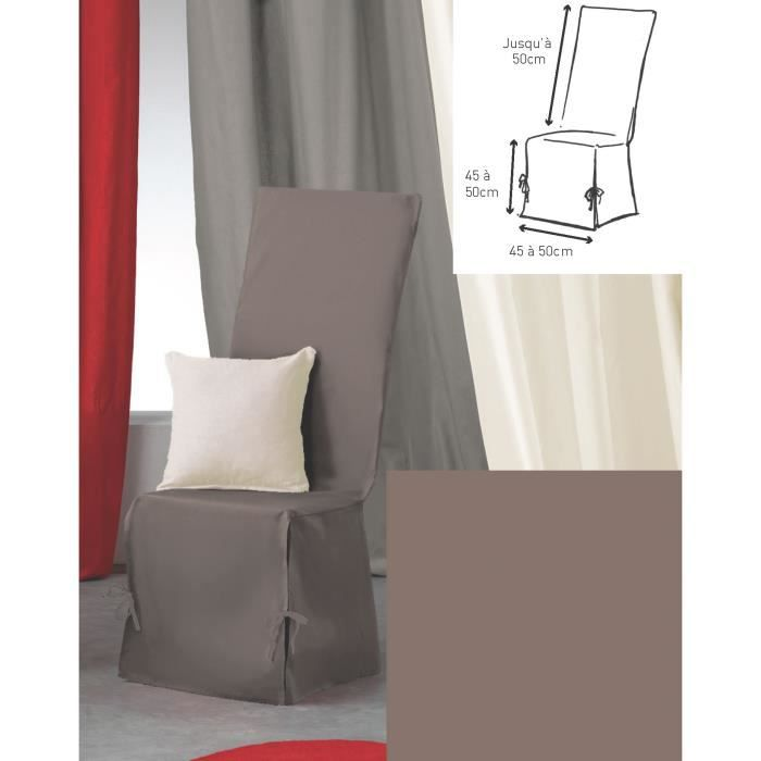 Housse de chaise 50x50x50 gaby taupe achat vente for Housse de chaise occasion