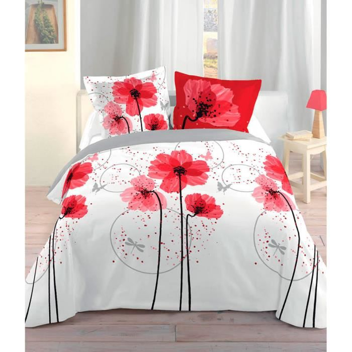 parure de lit 2 places design coquelicot. Black Bedroom Furniture Sets. Home Design Ideas