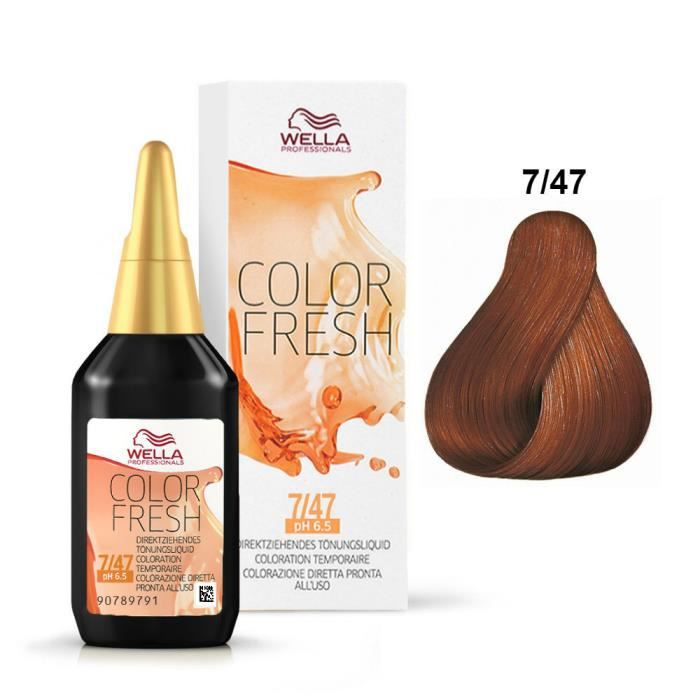 color fresh wella 7 47 blond cuivr marron achat vente coloration color fresh wella 7 47. Black Bedroom Furniture Sets. Home Design Ideas