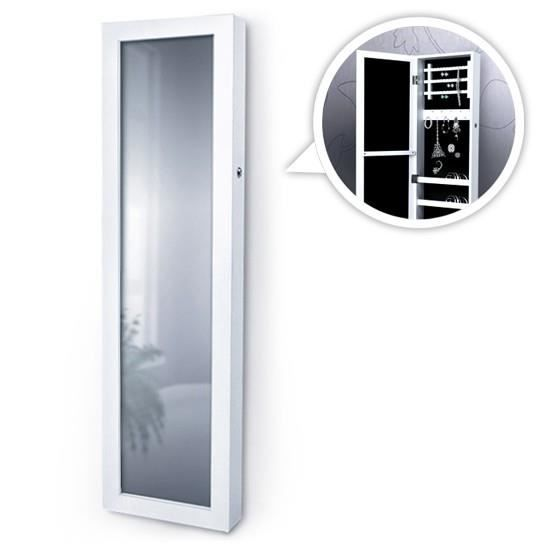 armoire bijoux smsk06 avec miroir mural blanc achat. Black Bedroom Furniture Sets. Home Design Ideas