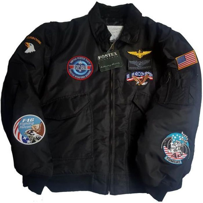blouson aviateur cwu 36 top gun us air force 7 ecussons. Black Bedroom Furniture Sets. Home Design Ideas