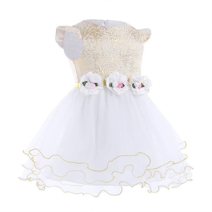 Robe Blanche Belle Filles Cérémonie Bal Mariage Anniversaire Baptême Fête
