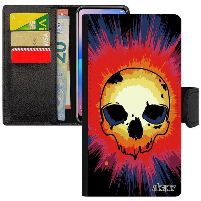 Coque iPhone 5 5S SE portefeuille tete de mort tat