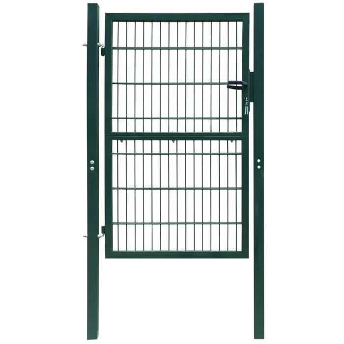 Portillon de jardin 2d single vert 106 x 210 cm achat for Portillon de jardin vert