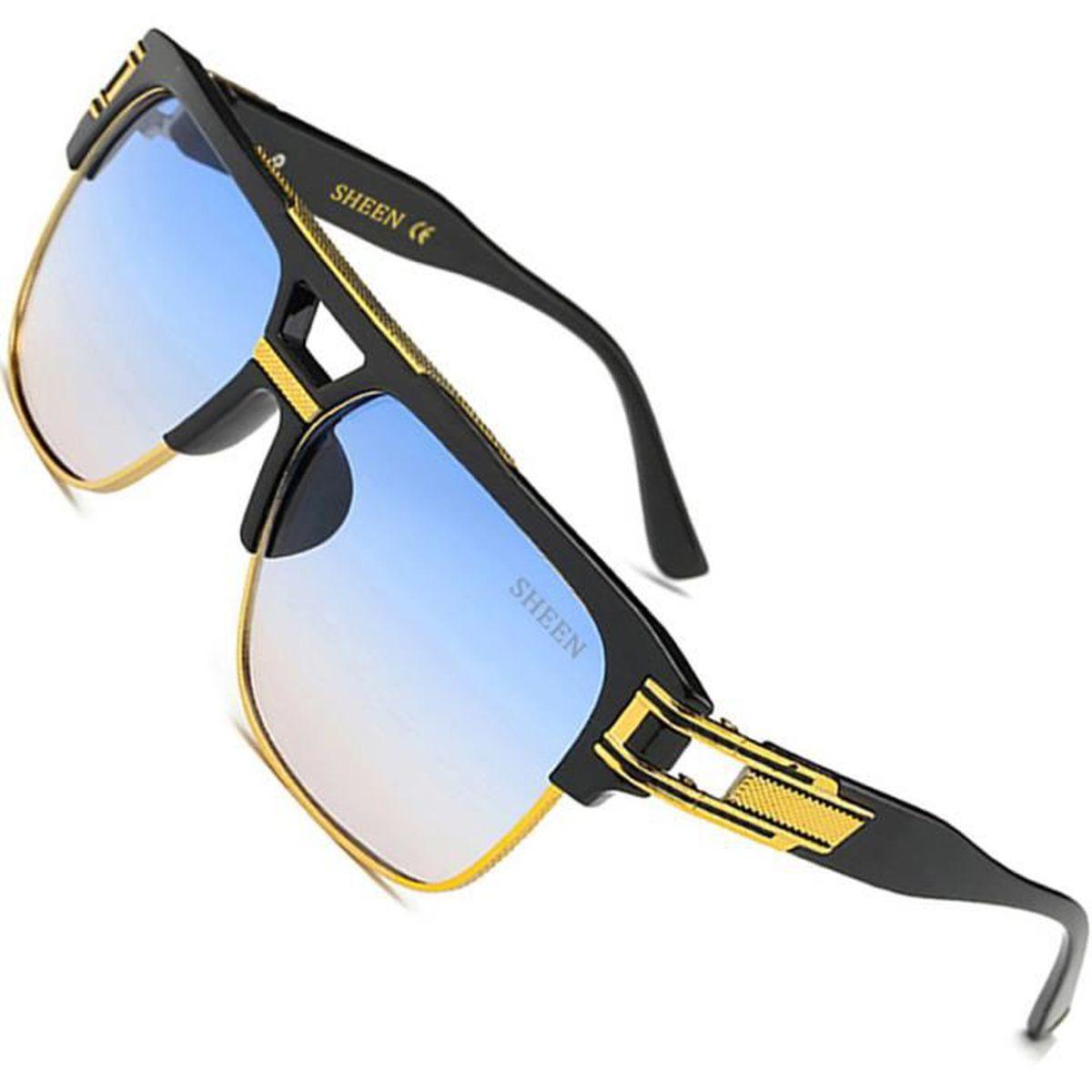 Fashion Mariage Lunettes de soleil avec jaune bras bleu miroir miroir Designer Neuf