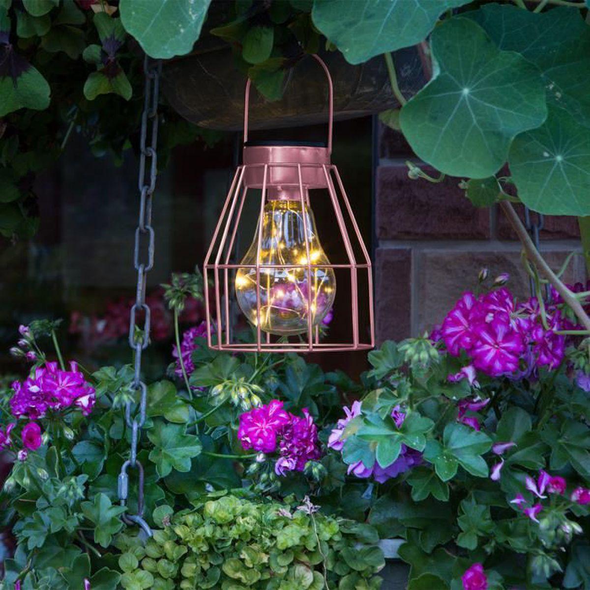 DEL Verre Jardin Suspendu Lumière Ornement-Energie solaire RGB