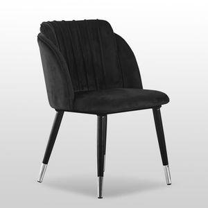 CHAISE Chaise de Salle à Manger en Velours Noir, Milano -
