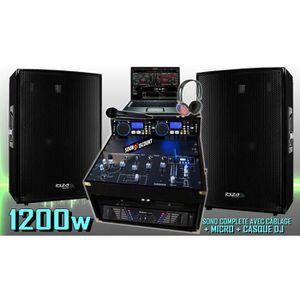 PACK SONO PA DJ  PACK SONO COMPLÈTE 1200W + 2 ENCEINTES SONO
