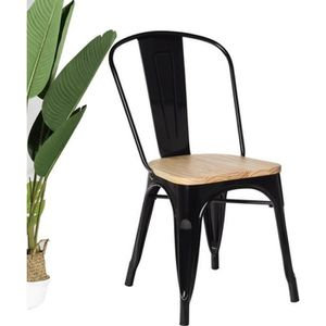 CHAISE KOSMI - Chaise noire en métal et Bois clair Style