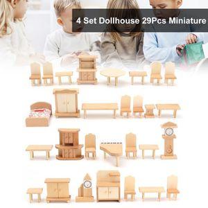 MAISON POUPÉE TEMPSA 29PCS 1:24 Meuble En Bois Miniature Pour Ma
