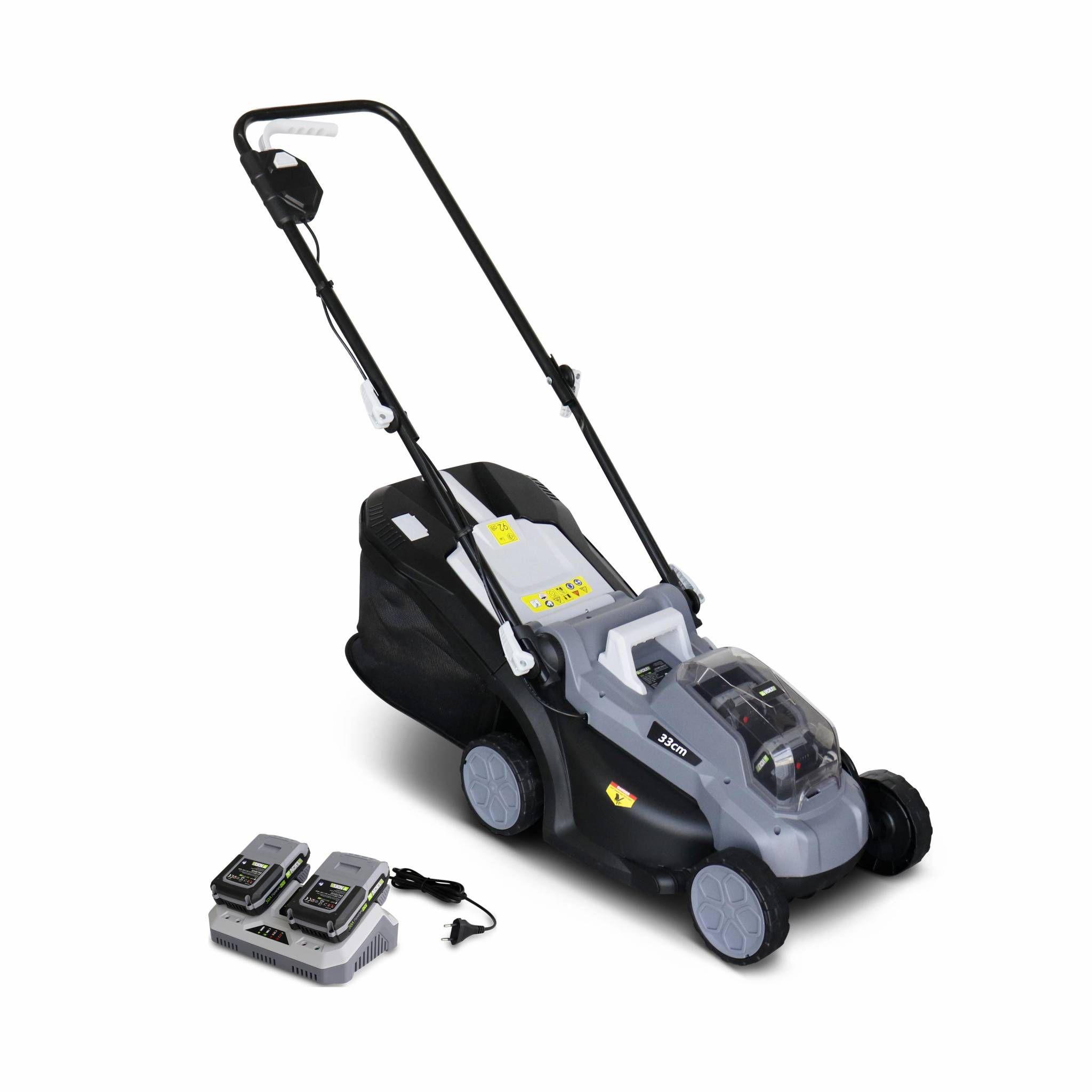 VOLTR 36V – Tondeuse à gazon sans fil 33cm – Batteries 20V Lithium 2.0Ah + double chargeur rapide, récupérateur d'herbe 35L