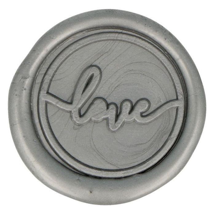 10 Sceaux de cire à coller argentés Love 25 mm