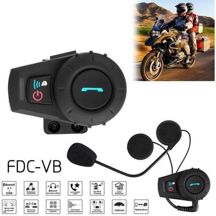2 Pièces Kit Main Libre Intercom Moto Duo Oreillette Bluetooth Casque Moto avec Micro Système de Communication Moto Pilote Passager