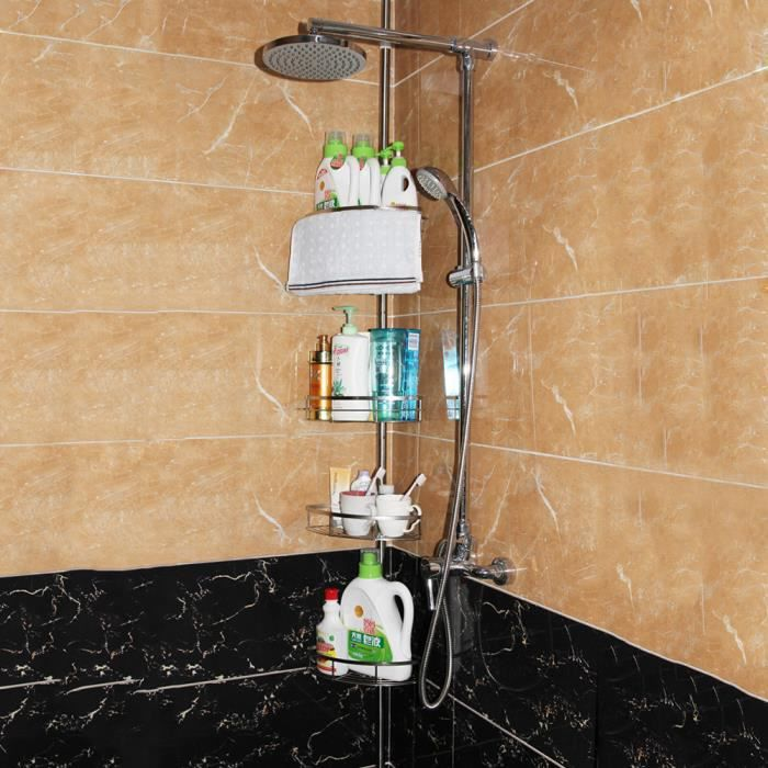 4 Etagère télescopique d'angle de douche -Savon bain douche Etagère de Douche