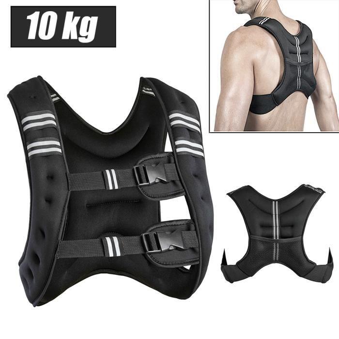 YIS - 10 kg Gilet de Poids, Gilet de fitness, pour Poids Entrainement Musculation Exercice - Noir