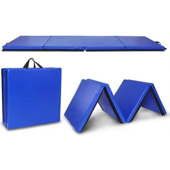 Tapis de Gymnastique Pliable 240*60*5cm avec Poignées de Transport et Velcro Bleu