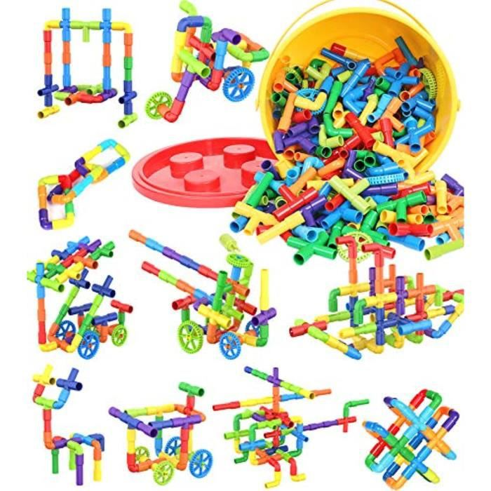 Jeu D'Assemblage QIN7B Blocs de construction STEM de 25 pièces, jouets sensoriels de tube de tuyau, ensemble de construction de serr