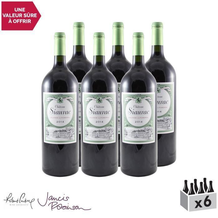 Château Siaurac MAGNUM Rouge 2014 - Lot de 6x150cl - Appellation AOC Lalande-de-Pomerol - Vin Rouge de Bordeaux - 16.5-20 Jancis