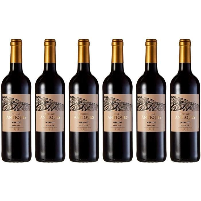 Vin Merlot Collines Antiques, IGP Pays d'Oc, cuvée 2018 (6 x 750 ml)