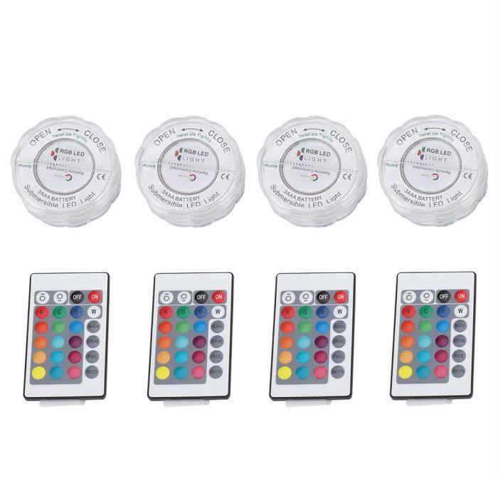 4 pcs / ensemble 10LED RGB Lumières Étanche IP68 Télécommande Lampe Sous-Marine De Mariage Partie Vase Décor, blanc