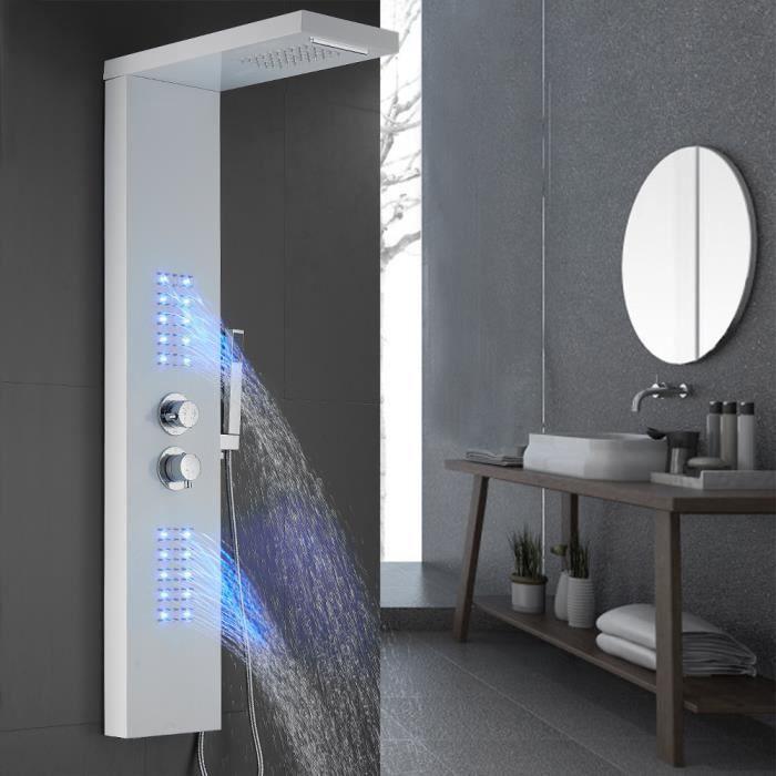 Colonne de Douche Thermostatique Blanc Système de Douche LED en Acier Inox - 22*45*125cm