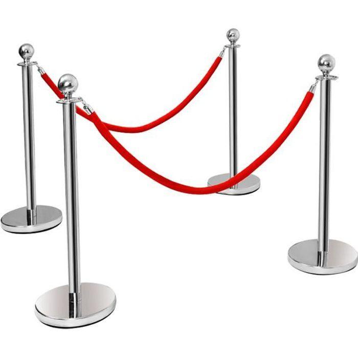 4 Poteau de Guidage Barrières de Sécurité en Acier Inox. avec Corde Vlours Rouge 1.5M pour Contrôler des Foule et les Personnes VIP