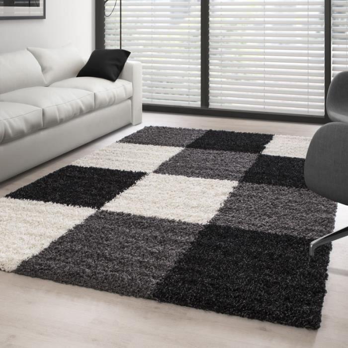 Tapis Shaggy pile longue à carreaux NOIR BLANC GRIS (200x290 cm)