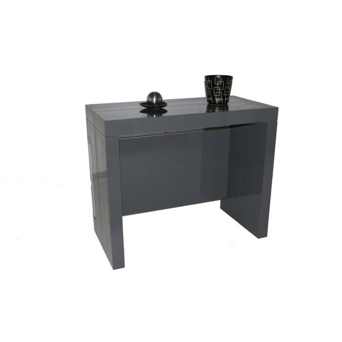 Table console extensible à allonges intégrées Milano Laqué Gris