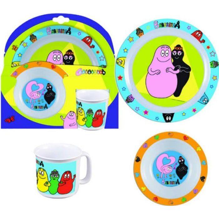 Set 3 pièces Les barbapapa assiette verre repas déjeuner enfant