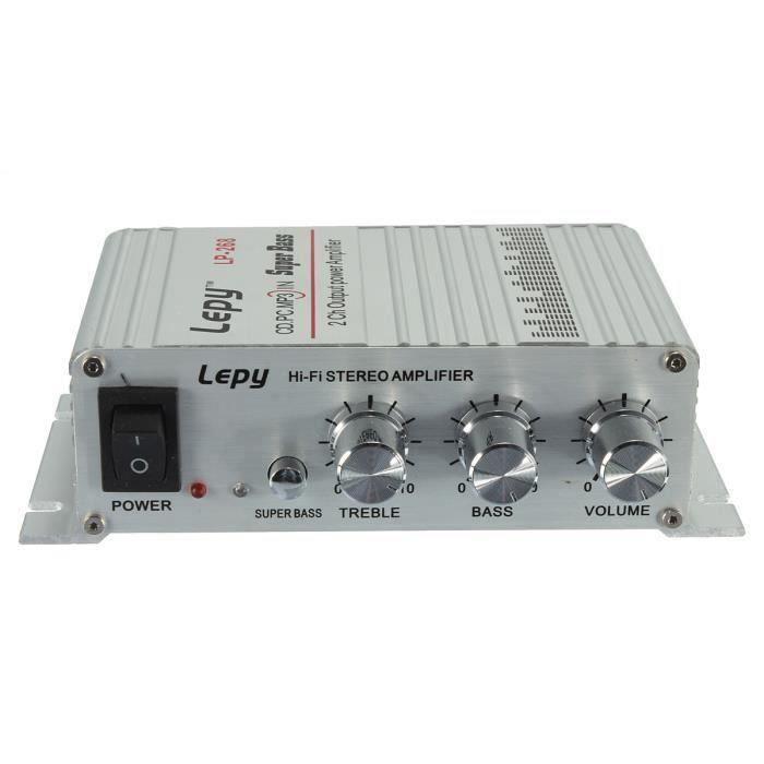 Lepy 40W 12V 2-Canaux Hi-Fi Stéréo Amplificateur Ampli MP3 Bass à Voiture Auto My13894