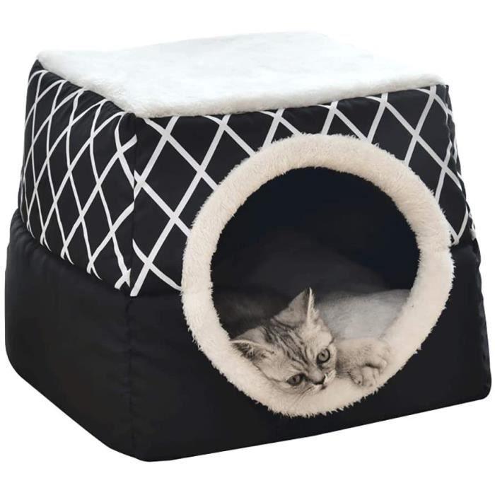 Lit pour chat anier Chat Niche pour Chien Chat avec Coussin Amovible Panier pour Chat Niche à Chat Nid de Chat 35x33x30cm Noir A74