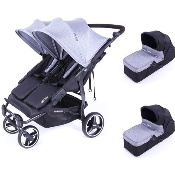 Poussette double Baby Monsters Easy Twin 3S Light + 2 nacelles Heather Grey - Châssis Noir
