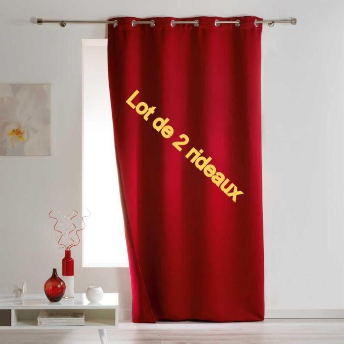 Lot de 2 rideaux a oeillets 140 x 260 cm occultant thermique isolant covery Rouge