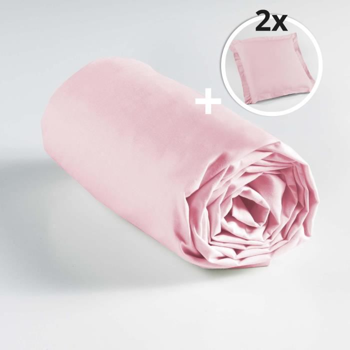 Pack drap housse 2 personnes 140 x 190 + 2 taies 63 x 63 point bourdon Rose clair