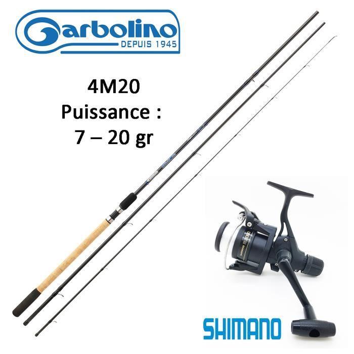 Ensemble Pêche Anglaise, Canne Garbolino Bullet 4M20 + Moulinet Shimano 2 000