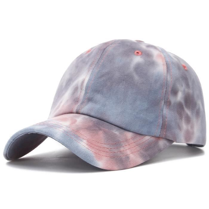 GEMVIE Casquette Baseball Tie-Dye Femme Vintage Chapeau Anti-Soleil Pliable Casquette Visière Respirable Élégant Printemps Violet